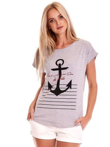 Szary t-shirt damski z kotwicą