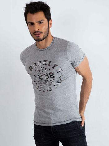71795b0312 Szary t-shirt męski College