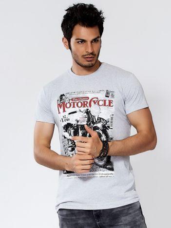Szary t-shirt męski z nadrukiem motocykla