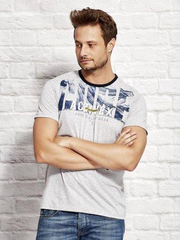 Szary t-shirt męski z printem