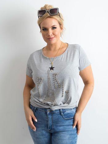 Szary t-shirt z aplikacją PLUS SIZE