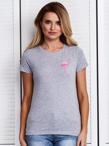 Szary t-shirt z flamingiem