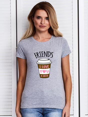 Szary t-shirt z kubkiem kawy