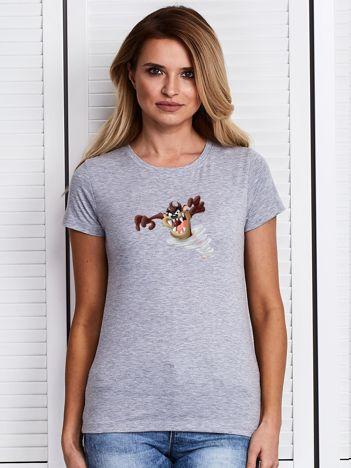 Szary t-shirt z nadrukiem LOONEY TUNES z Diabłem Tasmańskim