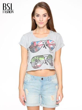 Szary t-shirt z nadrukiem awiatorów z motywem ENGLAND/ITALY