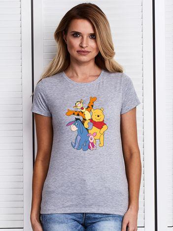 Szary t-shirt z nadrukiem postaci z Kubusia Puchatka
