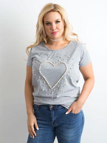 Szary t-shirt z perełkami PLUS SIZE
