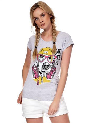 Szary t-shirt z zabawnym psem
