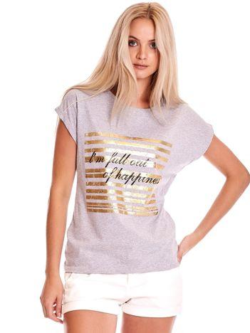 Szary t-shirt ze złotym printem