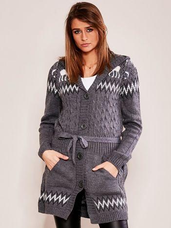Szary wzorzysty sweter z kapturem