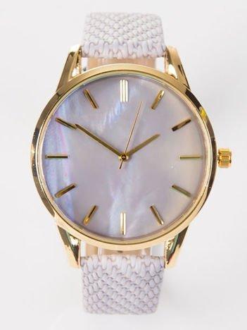 Szary zegarek damski z dużą perłową tarczą i plecionką na pasku