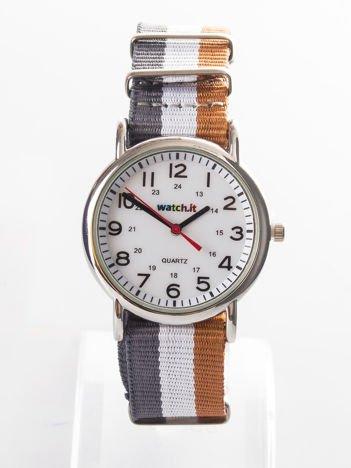 Szary zegarek męski z nylonowym paskiem