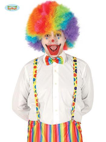 Szelki klauna dla dorosłych w kolorowe grochy