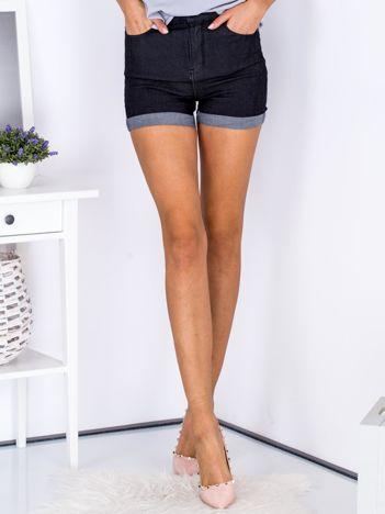 Szorty czarne high waist z podwijanymi nogawkami
