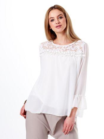 Szyfonowa bluzka biała z aplikacją z diamencików