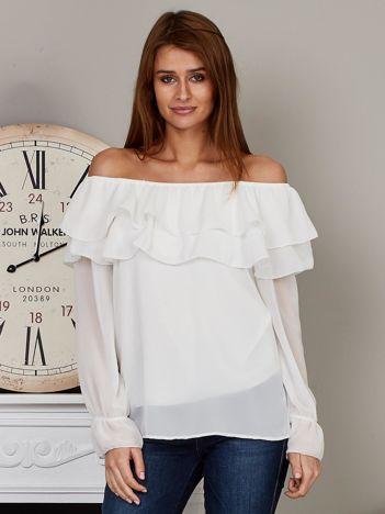 Szyfonowa bluzka hiszpanka z falbankami biała