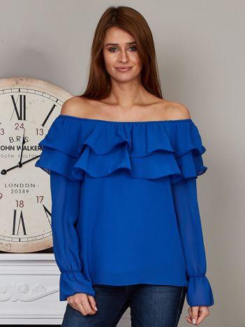 Szyfonowa bluzka hiszpanka z falbankami kobaltowa