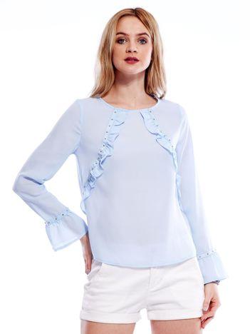 Szyfonowa bluzka z falbankami i aplikacją jasnoniebieska
