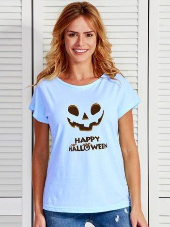 T-shirt HALLOWEEN z nadrukiem upiornej dyni niebieski