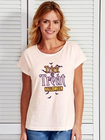T-shirt Halloween z nadrukiem TRICK OR TREAT ecru