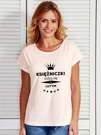 T-shirt KSIĘŻNICZKI RODZĄ SIĘ W LUTYM ecru