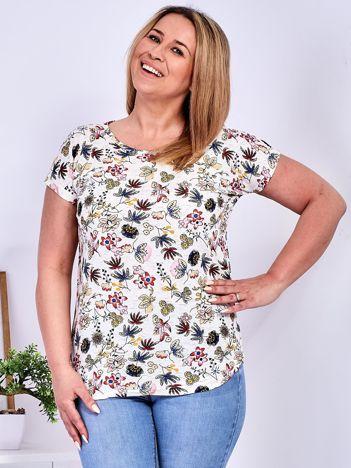 T-shirt beżowy w kolorowe kwiaty PLUS SIZE