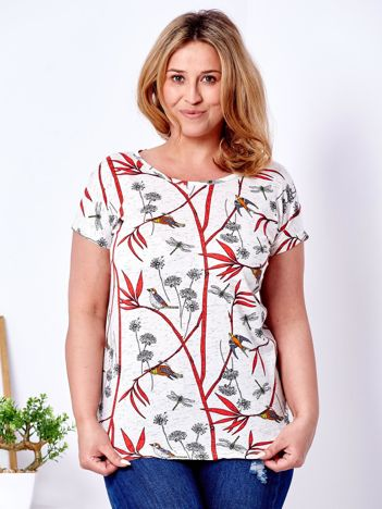 T-shirt beżowy w roślinne desenie PLUS SIZE