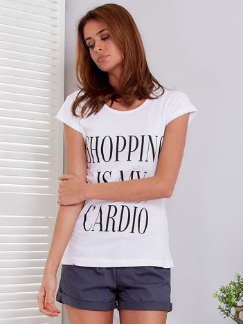 T-shirt biały SHOPPING IS MY CARDIO