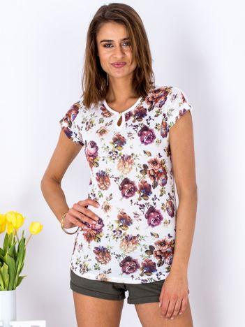 T-shirt biały kwiatowy