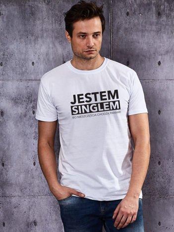 T-shirt biały męski z zabawnym nadrukiem dla singli