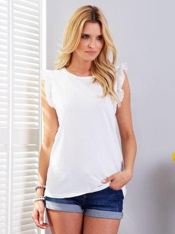 T-shirt biały z falbankami