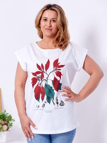 T-shirt biały z roślinnym printem PLUS SIZE