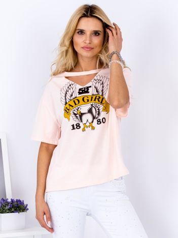 T-shirt brzoskwiniowy Bad Girl