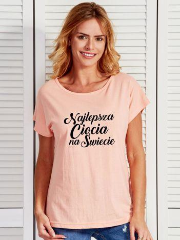 T-shirt brzoskwiniowy NAJLEPSZA CIOCIA NA ŚWIECIE