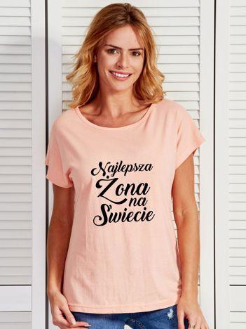 T-shirt brzoskwiniowy NAJLEPSZA ŻONA NA ŚWIECIE