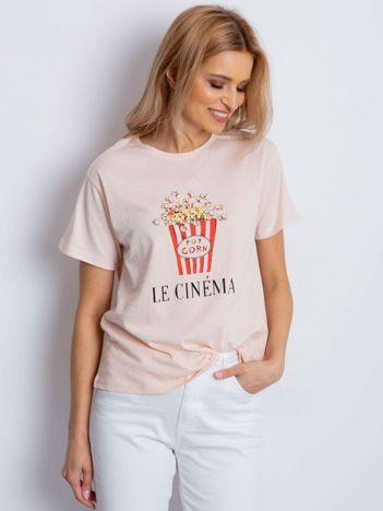 T-shirt brzoskwiniowy z popcornem