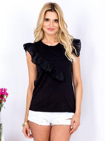 T-shirt czarny z asymetryczną falbaną