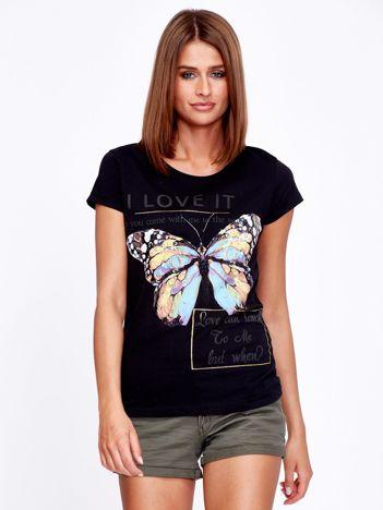 T-shirt czarny z motylem