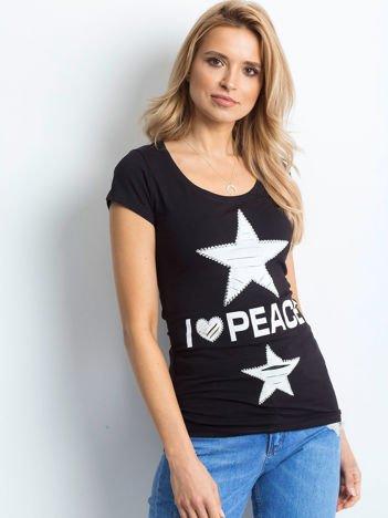 T-shirt czarny z naszywką gwiazd