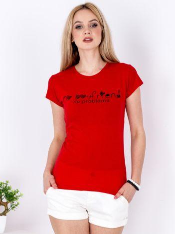 T-shirt czerwony NO BOYFRIEND NO PROBLEMS