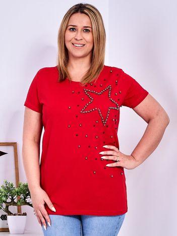 T-shirt czerwony z gwiazdą z perełek PLUS SIZE