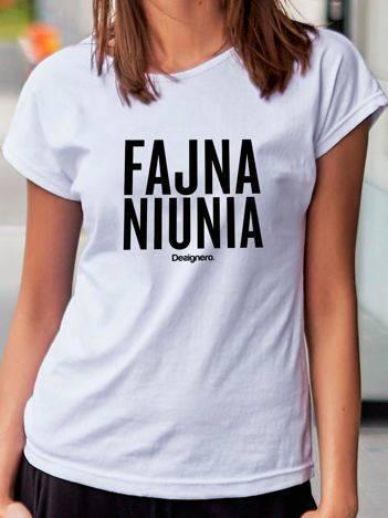 T-shirt damski FAJNA NIUNIA biały