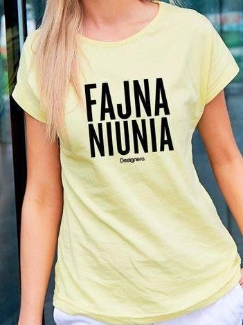 T-shirt damski FAJNA NIUNIA żółty