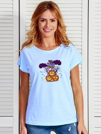 T-shirt damski Halloween z nadrukiem dyń niebieski