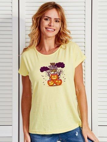 T-shirt damski Halloween z nadrukiem dyń żółty