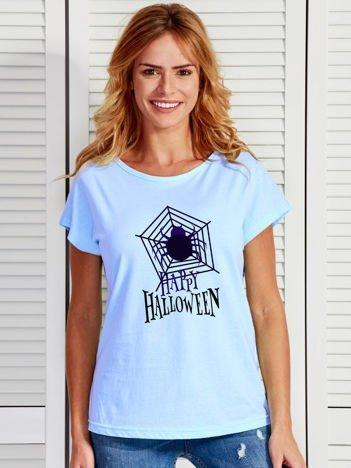 T-shirt damski Halloween z nadrukiem pajęczyny niebieski