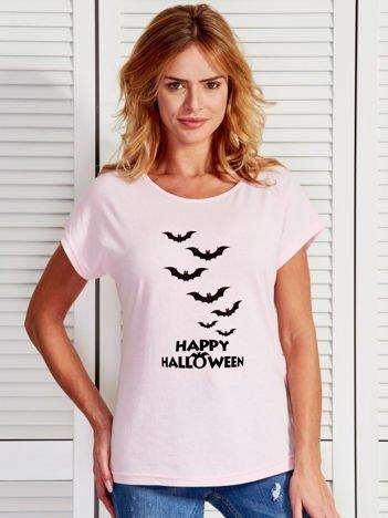 T-shirt damski Happy Halloween z nietoperzami jasnoróżowy