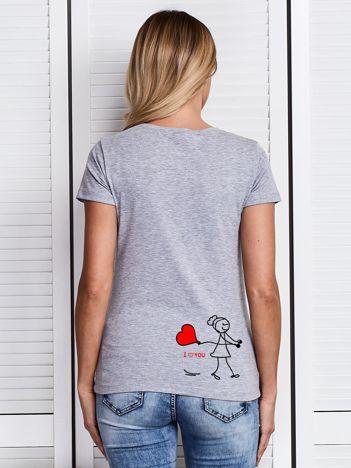 T-shirt damski I LOVE YOU na walentynki dla par szary