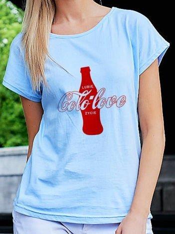 T-shirt damski LUBIĘ COLO LOVE ŻYCIE niebieski
