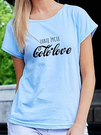 T-shirt damski LUBIĘ ŻYCIE COLO LOVE niebieski